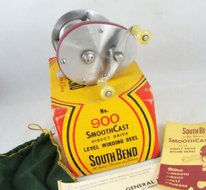 Old Vintage SOUTH BEND SMOOTHCAST No. 900 Casting Reel + Box + Extras