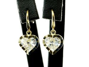 333 Gold kleine Einhänger Ohrringe 16 mm mit  Herz Anhänger 8,6 mm