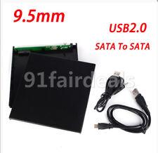 US 9.5mm USB 2.0 SATA to SATA External Optical Drive Case CD DVD-ROM Enclosure
