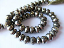 Pyrite faceted rondelle- 6mm- 5 inch