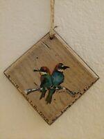 Original Two Hummingbirds on Branch  PSALM 104:33 Wall Art Plaque Wood RAMFISH