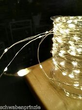Outdoor 16m = 160 Lichter Micro LED Lichterkette Silberdraht Draht Micro Leds