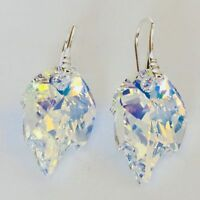 925 Sterling Silver Swarovski Elements Earrings Crystal Leaf Jewellery Aurore AB