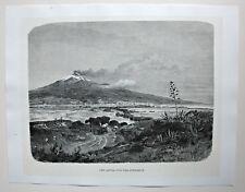 Italien, Sizilien - Der Aetna von der Südseite aus - Dekorativer Holzstich 1885
