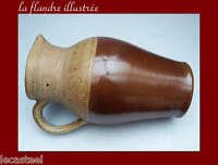 flandre - rare cruche à eau 19ème en terre vernissée bicolor