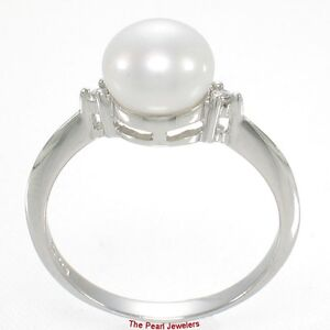 Solid 925 Silver White Cultured Pearl Ring w/ Twin Cubic Zirconia Accents  - TPJ