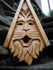 """Unique Kitty Bird House Rustic Hand Carved Cat Face Wood Spirit 16"""""""