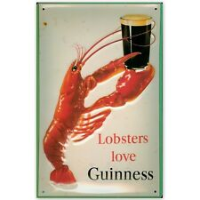 More details for guinness, lobsters: embossed 3d metal advertising sign 30x20cm,pub/ irish bar