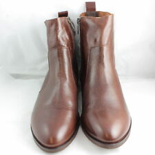 Womens Office Brown Leather Zip Ankle Boots UK Size 4 *Ex Display
