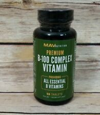 Vitamin B-100 Complex Essential B12 B1 B2 B6 By Mav Nutrition 50 Tablets