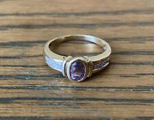 9ct Gold Ring With Amethyst And Diamonds Size M 1/2