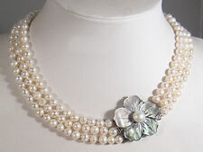 3 Rows 7-8mm Real White Fresh Water Pearl Silver Shell Flower Clasp Necklace