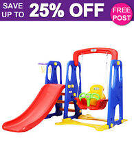 Keezi KPS-7557A-CFL 4-in-1 Slide Swing with Basketball Hoop Toddler Outdoor Indoor Play