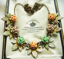 VINTAGE JEWELLERY ART DECO RAINBOW PASTEL CELLULOID FLOWER ENAMEL LEAF NECKLACE