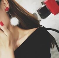 Elegant Fur Ball Love Heart Earrings Long Dangle Ear Stud Women Jewelry Gift