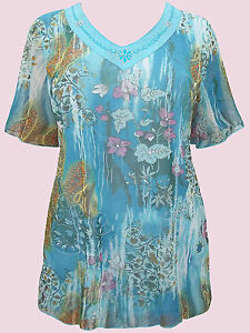 NEW BLUE Embroidered Floral Mesh Top - Plus Size 18 to 28
