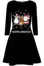 6c0f2603e1 Womens Ladies Christmas Santa Reindeer Gingerbread Long Sleeve Mini Swing  Dress