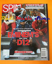 rivista SPIN Agosto 2001 Eminem's Pearl Jam Lucinda Williams  No cd