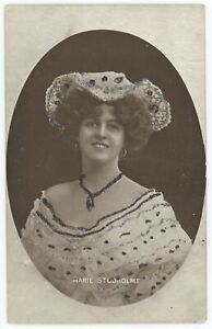 Stage Actress Gaiety Girl Marie Studholme Glitter Accent Enamelette Postcard