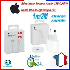 CHARGEUR IPHONE USB-C ORIGINAL  20W + Câble Type-C 12 PRO MAX 7 8 X XS XR 11