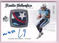 CHRIS JOHNSON RC 2008 SP AUTHENTIC 4 CLR LOGO PATCH INSCRIBED AUTO #760/999 RPA