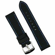 B & R Bands 20mm Black/Blue Stitch Sport Waterproof Dive Watch Band Strap