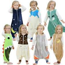 Toddler Kids Baby Boys Girls Cartoon Jumpsuit Fleece Wearable Blanket Sleep Bags