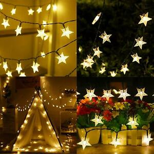 50 LED Star Fairy String Lights Garden Outdoor Solar Powered Xmas Party Lamps 7m