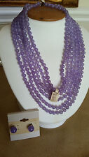 "Artisan Crafted 6 Stranded Genuine Purple Jade Necklace 16 1/2"" & Earring Set"