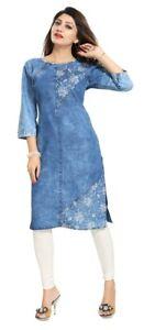 Women Indian Denim Blue  Kurti Designer Printed Tunic Kurta Shirt Dress DN2205