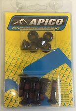Apico Rear Sprocket Bolts 6 M8x30 Black RM RMZ YZ YZF KX KXF CR CRF 125 250 450