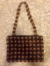 Wood beaded  Handbag Purse double straps Bead Design NWOT