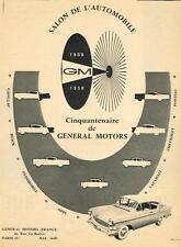 PUBLICITE ADVERTISING   1958   GENERAL MOTORS salon de l'automobile
