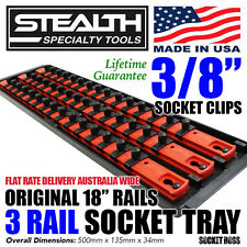 "STEALTH 3 x 18"" Rails Socket Organiser 3/8"" Twist Lock Tray Holder Organiser"