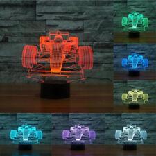 For Kids Room 7 Color Formula 1 Car Race Table LED Lamp 3D Illusion Night Light
