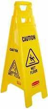 """Rubbermaid 4 Sided CAUTION WET FLOOR Warning Sign FG611477YEL 38"""" / 96cm High"""