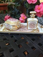 Antique SEVRES France Hand Painted Scent Bottle Cotton Vanity Bathroom Set 1751