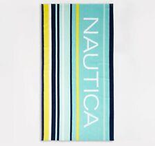 "NWT - NAUTICA 100% Cotton STRIPE Blue/Yellow BEACH TOWEL - 35"" X 66"""