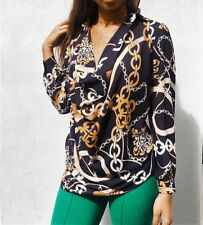 JOHN ZACK CHAIN PRINT COWL NECK BLOUSE SHIRT TOP