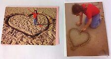 2X 1998 AVANTI VALENTINES GREETING CARDS - LITTLE GIRL ON BEACH - HEART IN SAND
