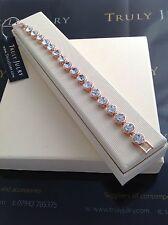 Ladies Luxurious Designer Bracelet Rose Gold Crystal Jewellery Gift Boxed UK