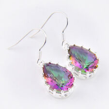 Flower Shaped Rectangle Rainbow Mystical Fire Topaz Gems Silver Dangle Earrings