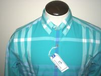 Southern Tide Mens LS Woven Tropical Palm Green Blue Plaid Trim Fit Shirt NWT