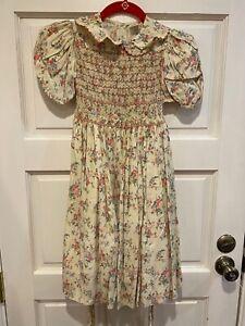 Isabel Garreton Hand Smocked Dress Short Sleeve Lined Tie Belt Floral Girls 6
