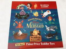 "Mcdonalds Translite Drive Tru Advertising Sign 14"" Happy Meal The Little Mermaid"