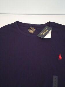 NEW Polo Ralph Lauren Men's T-Shirt Size XL Navy Blue Soft Cotton L/S Crew Top