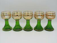 Weinrömer Sammlergläser mit Vergoldung und grünem Fuß 60/70er Jahre