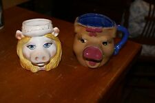 2 Vtg Ceramic Mugs Jim Henson'S Miss Piggy By Sigma&Ceramic Hand Painted Piggy