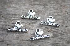 25pcs--Gymnastics charms silver Heart Gymnastics Charm Pendants 20x11mm
