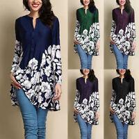 Women Vintage Long Sleeve Tunic Tops Plus Size Casual Loose Blouse Shirt T-Shirt